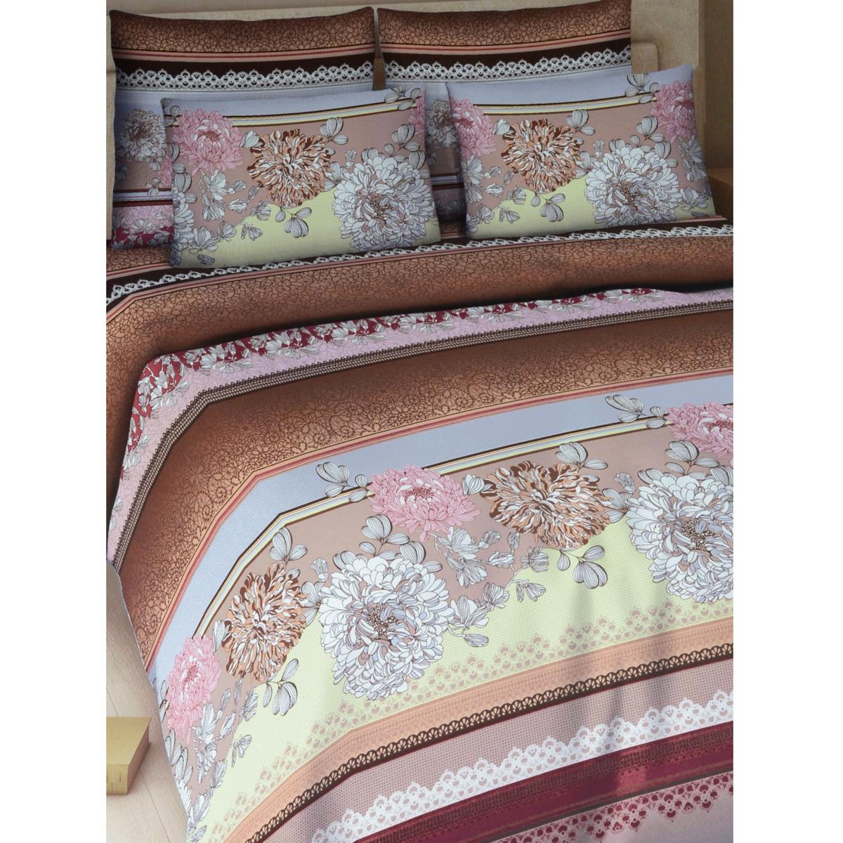 Комплект белья Василиса Рапсодия, семейный, наволочки 70х70, цвет: темно-коричневый, розовый, желтый325_2/сКомплект постельного белья Василиса Рапсодия состоит из двух пододеяльников, простыни и двух наволочек. Дизайн - крупные цветы. Белье изготовлено из поплина (хлопка) - гипоаллергенного, экологичного, высококачественного, крупнозакрученного волокна, благодаря чему эта ткань мягкая, нежная на ощупь и очень прочная, не образует катышков на поверхности. При соблюдении рекомендаций по уходу, это белье выдерживает много стирок (более 70), не линяет и не теряет свою первоначальную прочность. Уникальная ткань обеспечивает легкую глажку.