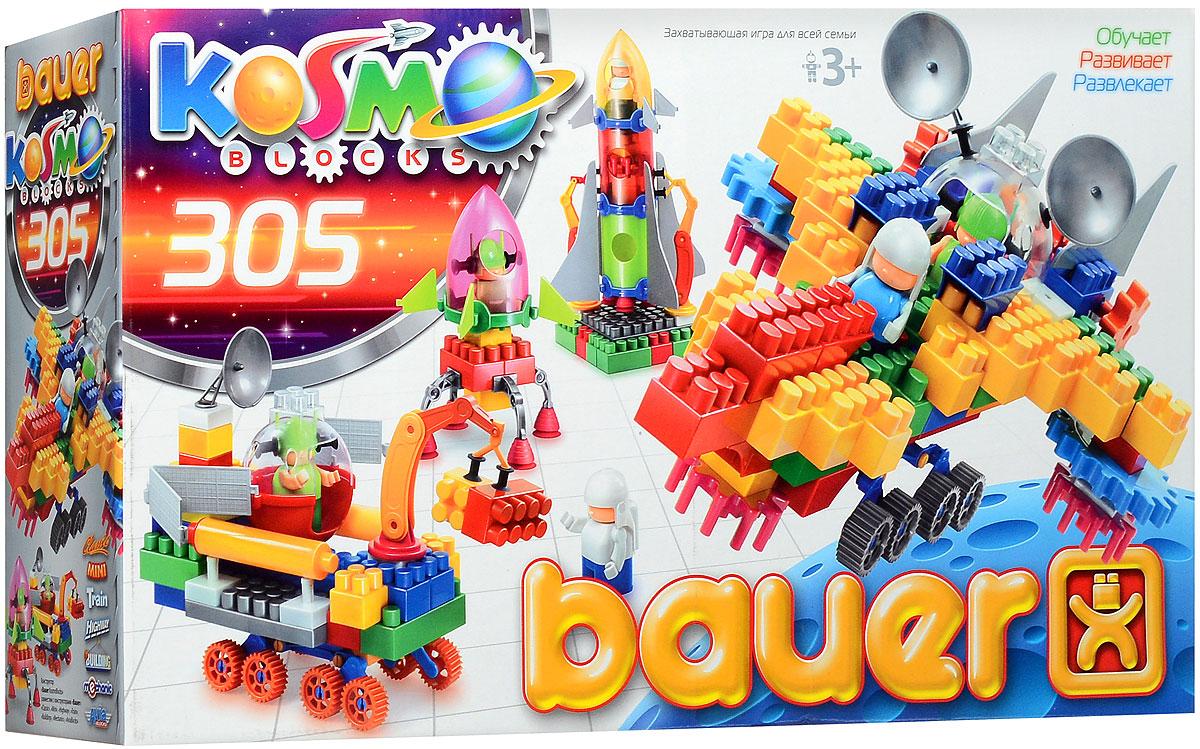 Bauer Конструктор KosmoBlocks 270270Конструктор Bauer KosmoBlocks содержит 305 ярких деталей различных форм, цветов и размеров для сборки разнообразных по сложности моделей космических кораблей и другой космической техники. Конструктор прекрасно подходит для детского творчества и семейного отдыха, способствуют развитию объёмного мышления ребенка, фантазии, координации движения глаз, мелкой моторики и памяти. Все детали сделаны из высококачественного пластика с использованием пищевых красителей. Ребенок сможет часами играть с этим конструктором, придумывая разные истории и комбинируя детали. Конструктор Bauer KosmoBlocks это идеальный набор для вашего маленького космонавта, который мечтает о полетах в космос!
