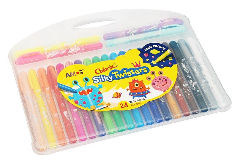 Набор Twisters. Фломастер-пастель-акварель (24 цветов)CST24 Цв.карандаши 3в1 24 цвета, d=6mmНабор 3 в 1: Фломастер - чтобы получить насыщенный цвет, Пастель - чтобы смешивать оттенки (растушуйте пальцами), Краски - чтобы рисовать акварелью (возьмите кисточку и воду). Вы сами выбираете способ рисования, всё это в одном твистере. L=15см, стержень L=9см, D=0.6см