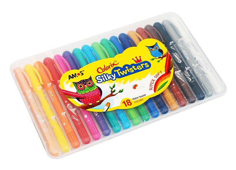 Набор Twisters. Фломастер-пастель-акварель (18 цветов)CST18 Цв.карандаши 3в1 18 цвета, d=6mmНабор 3 в 1: Фломастер - чтобы получить насыщенный цвет, Пастель - чтобы смешивать оттенки (растушуйте пальцами), Краски - чтобы рисовать акварелью (возьмите кисточку и воду). Вы сами выбираете способ рисования, всё это в одном твистере. L=15см, стержень L=9см, D=0.6см