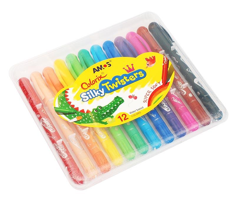 Набор Twisters. Фломастер-пастель-акварель (12 цветов)CST12 Цв.карандаши 3в1 12 цветов, d=6mmНабор 3 в 1: Фломастер - чтобы получить насыщенный цвет, Пастель - чтобы смешивать оттенки (растушуйте пальцами), Краски - чтобы рисовать акварелью (возьмите кисточку и воду). Вы сами выбираете способ рисования, всё это в одном твистере. L=15см, стержень L=9см, D=0.6см