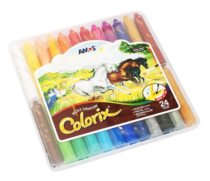 Набор Colorix. Мелки-пастель-акварель (24 цветов)CRX5PC24 Цв.карандаши 3в1 24 цвета, d=12mmНабор 3 в 1: Мелки, чтобы создать яркую плотную текстуру, Пастель - чтобы смешивать оттенки (растушуйте пальцами), Краски - чтобы рисовать акварелью (возьмите кисточку и воду). Вы сами выбираете способ рисования, всё это в одном твистере. L=10.5см,D=1.8см; стержень L=4.7см, D=1.2см
