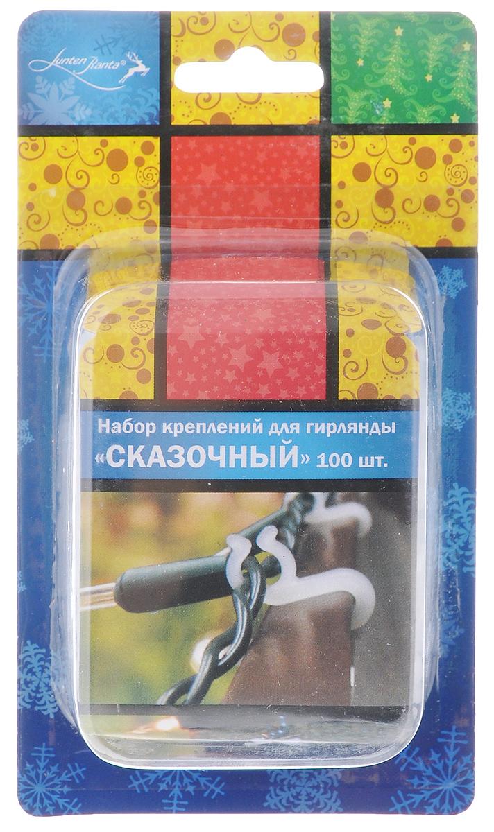 Набор креплений для гирлянды Lunten Ranta Сказочный, 100 шт65732Набор Lunten Ranta Сказочный состоит из ста креплений для гирлянды. Изделия, выполненные из прочного пластика, помогут легко и надежно прикрепить разнообразные новогодние аксессуары (гирлянды, мишуру и многое другое) на вертикальные поверхности без гвоздей, шурупов и отверстий в стене. Размер крепления: 2,5 см х 2 см.