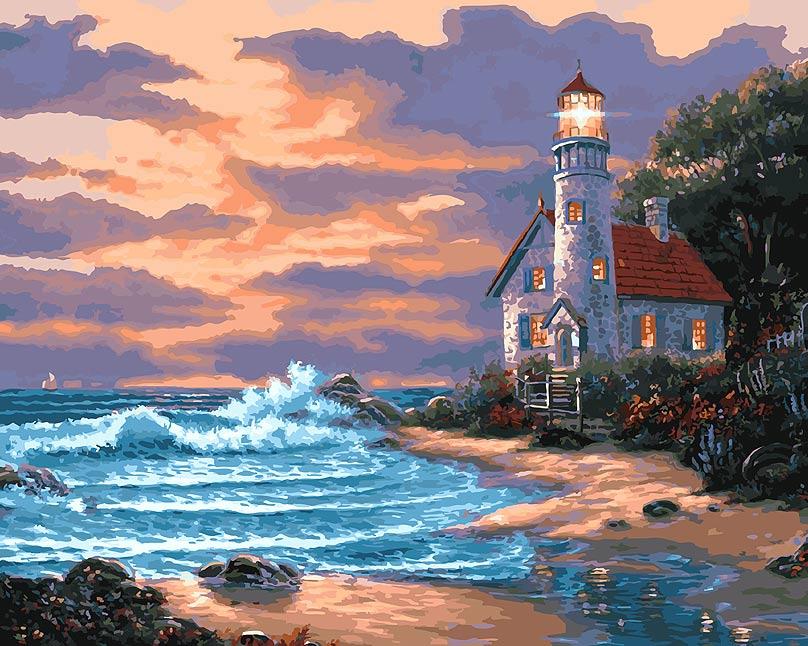 Живопись на холсте Дом с маяком, 40 см х 50 см401-AB Дом с маякомЖивопись на холсте Дом с маяком - это набор для раскрашивания по номерам красками на холсте. Каждая краска имеет свой номер, соответствующий номеру на картинке. Нужно только аккуратно нанести необходимую краску на отмеченный для нее участок. Таким образом, шаг за шагом у вас получится великолепная картина. С помощью такого набора вы можете стать настоящим художником и создателем прекрасных картин. Вы получите истинное удовольствие от погружения в процесс творчества, и созданные своими руками картины украсят интерьер вашего дома или станут прекрасным подарком. Техника раскрашивания на холсте по номерам дает возможность легко рисовать даже сложные сюжеты. Прекрасно развивает художественный вкус, аккуратность и внимание. Набор подходит для детей и взрослых. В набор входит: - холст на подрамнике с нанесенным рисунком, - контрольный лист с контурным рисунком, - набор акриловых красок на водной основе (35 цветов), - кисти, ...