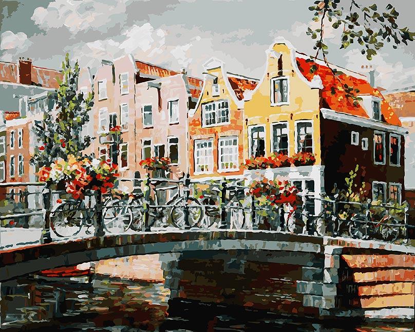 Живопись на холсте Белоснежка Амстердам. Мост через канал, 40 х 50 см119-AB Амстердам. Мост через каналЖивопись на холсте Белоснежка Амстердам. Мост через канал - это набор для раскрашивания по номерам красками на холсте. Каждая краска имеет свой номер, соответствующий номеру на картинке. Нужно только аккуратно нанести необходимую краску на отмеченный для нее участок. Таким образом, шаг за шагом у вас получится великолепная картина. С помощью такого набора вы можете стать настоящим художником и создателем прекрасных картин. Вы получите истинное удовольствие от погружения в процесс творчества, и созданные своими руками картины украсят интерьер вашего дома или станут прекрасным подарком. Техника раскрашивания на холсте по номерам дает возможность легко рисовать даже сложные сюжеты. Прекрасно развивает художественный вкус, аккуратность и внимание. Набор подходит для детей и взрослых. В набор входит: - холст на подрамнике с нанесенным рисунком, - контрольный лист с контурным рисунком, - набор акриловых красок на водной основе (35...
