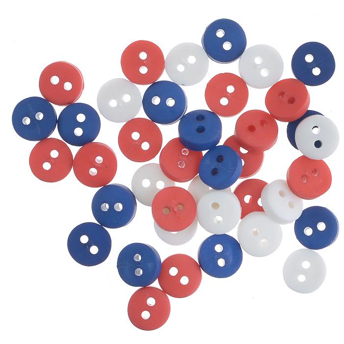 Пуговицы декоративные Buttons Galore & More Tiny Buttons, цвет: белый, синий, красный, диаметр 6 мм, 40 шт7708719Набор Buttons Galore & More Tiny Buttons состоит из круглых декоративных пуговиц, выполненных из пластика. Такие пуговицы подходят для любых видов творчества: скрапбукинга, декорирования, шитья, изготовления кукол, а также для оформления одежды. С их помощью вы сможете украсить открытку, фотографию, альбом, подарок и другие предметы ручной работы. Пуговицы имеют оригинальный и яркий дизайн. Диаметр пуговицы: 0,6 см.