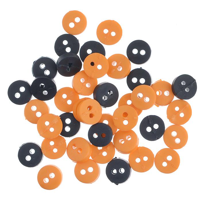 Пуговицы декоративные Buttons Galore & More Tiny Buttons, цвет: черный, оранжевый, диаметр 6 мм, 40 шт7708720Набор Buttons Galore & More Tiny Buttons состоит из круглых декоративных пуговиц, выполненных из пластика. Такие пуговицы подходят для любых видов творчества: скрапбукинга, декорирования, шитья, изготовления кукол, а также для оформления одежды. С их помощью вы сможете украсить открытку, фотографию, альбом, подарок и другие предметы ручной работы. Пуговицы имеют оригинальный и яркий дизайн. Диаметр пуговицы: 0,6 см.