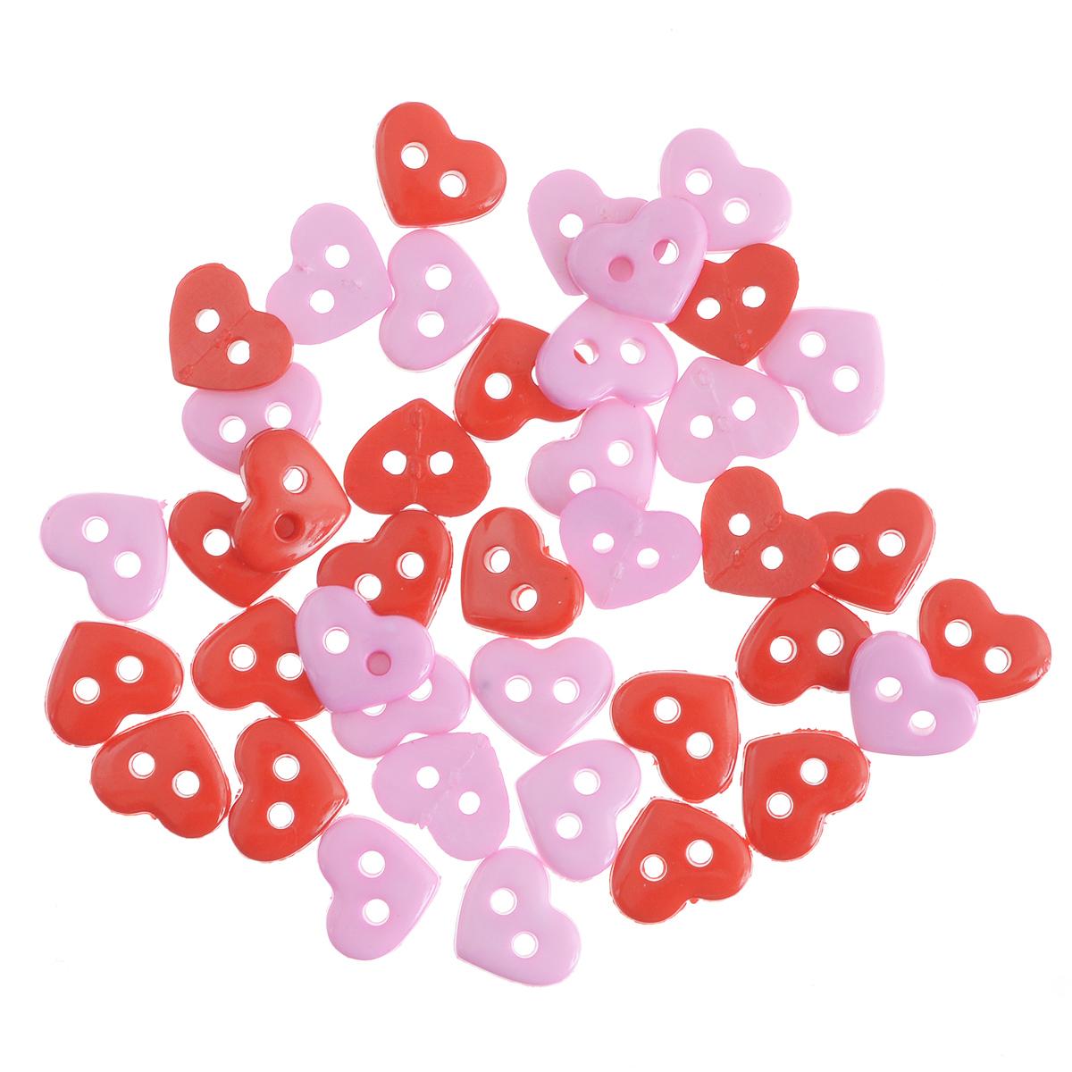 Пуговицы декоративные Buttons Galore & More Tiny Buttons, цвет: красный, розовый, 6 мм х 7 мм, 50 шт7705845Набор Buttons Galore & More Tiny Buttons состоит из декоративных пуговиц в виде сердец, выполненных из пластика. Такие пуговицы подходят для любых видов творчества: скрапбукинга, декорирования, шитья, изготовления кукол, а также для оформления одежды. С их помощью вы сможете украсить открытку, фотографию, альбом, подарок и другие предметы ручной работы. Пуговицы имеют оригинальный и яркий дизайн. Размер пуговицы: 6 мм х 7 мм.