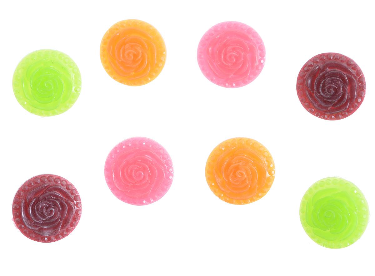 Пуговицы декоративные Астра Розочки, цвет: оранжевый, зеленый, розовый, диаметр 18 мм, 8 шт7708632_5Набор Астра Розочки, изготовленный из прочного пластика, состоит из 8 круглых декоративных пуговиц в виде роз. С помощью них вы сможете украсить открытку, фотографию, альбом, одежду, подарок и другие предметы ручной работы. Такие пуговицы станут незаменимым элементом в создании рукотворного шедевра. Диаметр пуговиц: 18 мм.