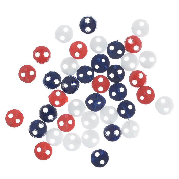 Пуговицы декоративные Buttons Galore & More Tiny Buttons, цвет: белый, темно-синий, красный, диаметр 4 мм, 40 шт7708733Набор Buttons Galore & More Tiny Buttons состоит из круглых декоративных пуговиц. Изделия выполнены из пластика. Такие пуговицы подходят для любых видов творчества: скрапбукинга, декорирования, шитья, изготовления кукол, а также для оформления одежды. С их помощью вы сможете украсить открытку, фотографию, альбом, подарок и другие предметы ручной работы. Пуговицы разных цветов имеют оригинальный и яркий дизайн. Диаметр пуговицы: 0,4 см.