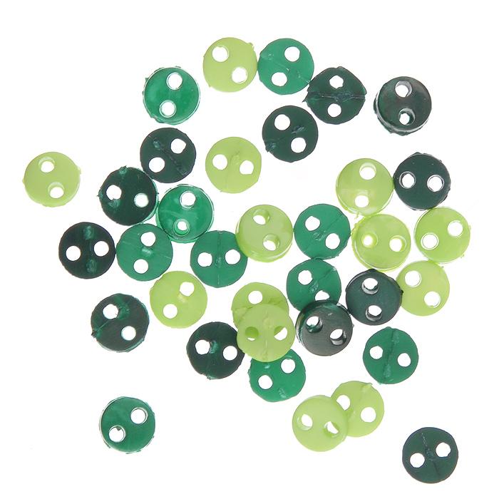 Пуговицы декоративные Buttons Galore & More Tiny Buttons, цвет: зеленый, салатовый, диаметр 4 мм, 40 шт7708740Набор Buttons Galore & More Tiny Buttons состоит из круглых декоративных пуговиц. Изделия выполнены из пластика. Такие пуговицы подходят для любых видов творчества: скрапбукинга, декорирования, шитья, изготовления кукол, а также для оформления одежды. С их помощью вы сможете украсить открытку, фотографию, альбом, подарок и другие предметы ручной работы. Пуговицы разных цветов имеют оригинальный и яркий дизайн. Диаметр пуговицы: 0,4 см.