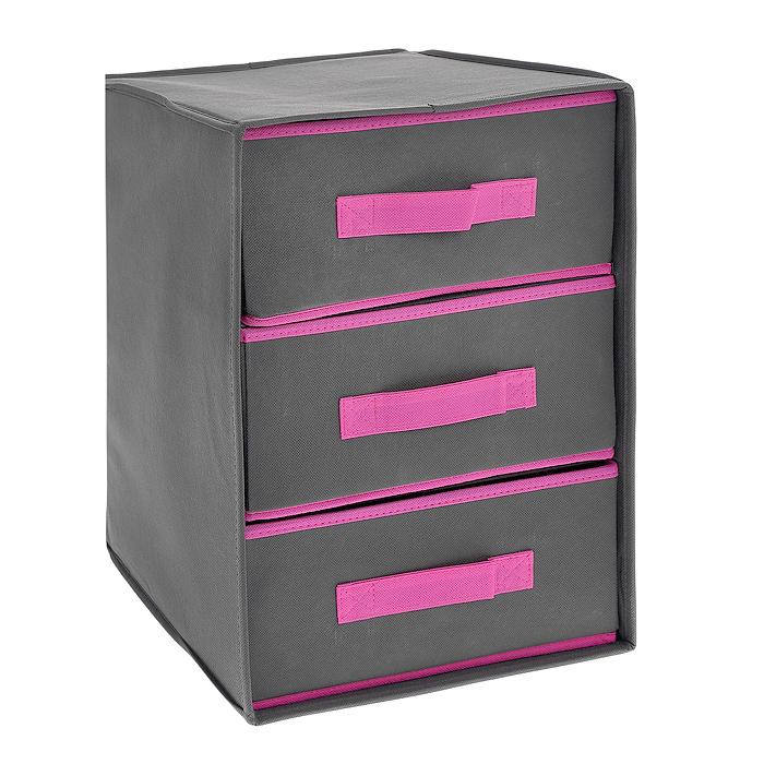 Кофр для хранения, 3 ящика, цвет: серый, розовый, 30 х 30 х 41,5 смFS-6145Кофр для хранения изготовлен из высококачественного нетканого материала, который позволяет сохранять естественную вентиляцию, а воздуху свободно проникать внутрь, не пропуская пыль. Имеет 3 вместительных выдвижных ящика. Предназначен для хранения домашнего текстиля, одежды, белья и аксессуаров. Благодаря специальным вставкам, кофр прекрасно держит форму, а эстетичный дизайн гармонично смотрится в любом интерьере. Мобильность конструкции обеспечивает легкое складывание и раскладывание.