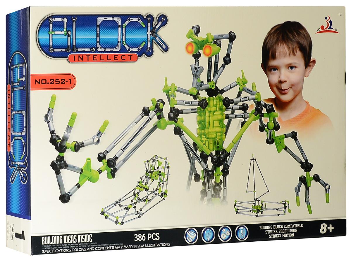 Intellect Block Конструктор Робот252-1Конструктор Intellect Block Робот позволит вашему ребенку весело и с пользой провести время. Набор включает в себя 382 пластиковых элемента, с помощью которых можно собрать множество подвижных конструкций. Ребенок может воспользоваться примерами из буклета или проявить фантазию, создав собственный шедевр. Некоторые элементы конструктора при нажатии на кнопку светятся зеленым светом, что добавляет той или иной модели реалистичности. Особые моторчики способны оживить некоторые конструкции. Также в набор входит схематичная инструкция по сборке моделей. Конструктор Intellect Block Робот поможет ребенку развить мелкую моторику рук, координацию движений и усидчивость. Для работы игрушки необходимы 2 батарейки типа LR41 (не входят в комплект).