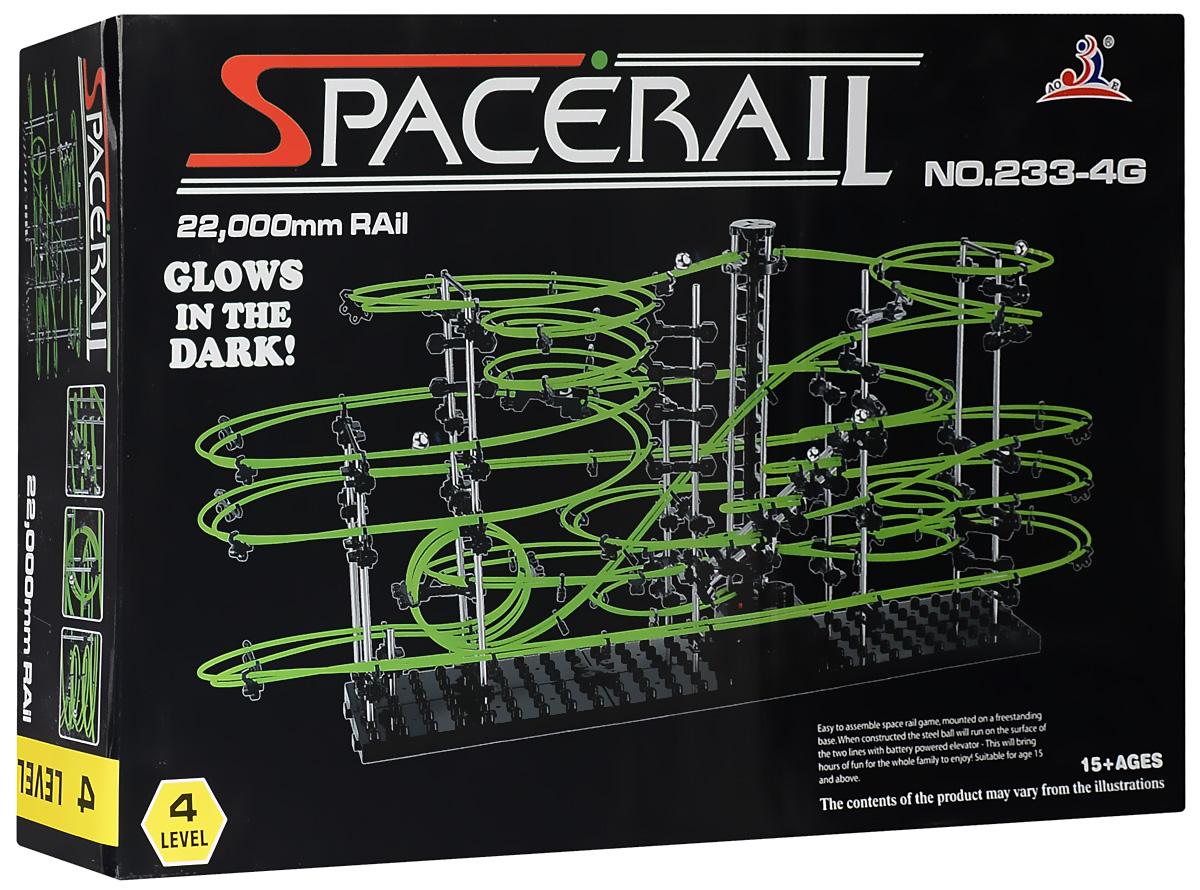Space Rail Конструктор Glow In The Dark уровень 4 220 см233-4GКонструктор Space Rail - космическая трасса, представляет собой отличную пространственную головоломку, которая увлечет всю семью от мала до велика! Процесс сборки доставит удовольствие и детям, и родителям, а запуск космической трассы приведет всех в восторг. Вы сможете построить захватывающие дороги и сами задать траектории, по которым стремительно будут проноситься металлические шарики. Это интереснейший аттракцион, напоминающий американские горки, за которым можно наблюдать часами. Особенностью данного конструктора является наличие светящейся в темноте трассы. Сборка конструктора поможет ребенку развить пространственное мышление и фантазию. Собранная модель станет изюминкой вашего дома и привлечет внимание окружающих. Вы и ваш ребенок сможете гордиться тем, что самостоятельно собрали такой аттракцион. Длина трассы: 220 см. Для работы игрушки необходима 1 батарейка типа С (не входит в комплект).