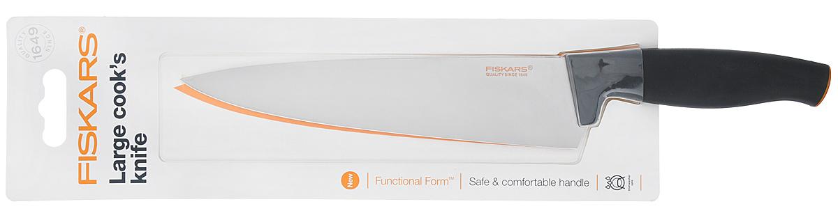 Поварской нож Fiskars Functional Form, с широким лезвием, цвет: черный, оранжевый, длина лезвия 20 см1014194Поварской нож Fiskars Functional Form выполнен из высококачественной нержавеющей стали. Он прекрасно подойдет для шинковки овощей и нарезки мяса. Эргономичная рукоять выполнена из качественного пластика. Рельефная поверхность и мягкое покрытие Softgrip обеспечивают надежный захват и не дают ножу скользить в ладони при использовании. Особенности ножа: -высокое качество (безопасность, прочность, гигиеничность); -функциональность (легко использовать, мыть и хранить); -привлекательный дизайн; -высококачественная сталь и заточка обеспечивают остроту лезвия; -длинное лезвие запрессовано в рукоятку; -современный и очень удобный дизайн рукоятки. Общая длина ножа: 31,5. Можно мыть в посудомоечной машине.