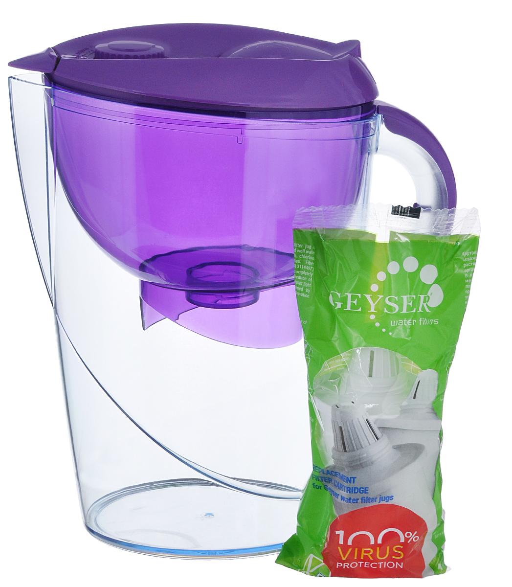 Фильтр-кувшин Гейзер Аквариус, цвет: прозрачный, сиреневый, 3,7 л62025_сиреневыйФильтр-кувшин Гейзер Аквариус. Фильтр-кувшин для очистки водопроводной и скважиной воды. Кувшин выполнен из высококачественного немецкого пищевого пластика. В крышке фильтра имеется специальный клапан, с помощью которого можно заливать воду, не снимая крышки. Нескользящая ручка позволяет удобно держать кувшин. В комплект Гейзер Аквариус входиткартридж 501 для фильтра-кувшина, состоящий из уникального материала Каталон, ионообменной смолы и кокосового угля. Удаляет ржавчину, растворенное железо, органические соединения, тяжёлые металлы, хлор и др. виды примесей. Содержит активное серебро в несмываемой форме, которое блокирует размножение бактерий. Картридж вкручивается в приемную воронку кувшина, обеспечивая герметичное соединение, что позволяет исключить протечку исходной воды в отфильтрованную. Преимущества Фильтра-кувшина Гейзер Аквариус: Картридж с материалом Каталон (100% защита от вирусов) Специальный клапан для заливки воды ...