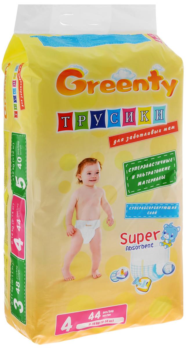 Greenty Подгузники-трусики 9-14 кг 44 штGREP-4mПодгузники-трусики Greenty легко одеваются и идеально сидят на малыше, не сползая при движении. Они отлично впитывают и защищают от боковых протеканий благодаря 3D-манжетам. Мягкая эластичная резиночка выполнена из дышащего материала. Ультратонкий и мягкий материал обеспечивает комфорт вашему ребенку, а супер абсорбирующий слой обеспечит сухость и комфорт. Полоски-индикаторы вовремя предупредят, когда пора менять трусики. Трусики можно легко одеть даже очень активному ребенку. Трусики-подгузники Greenty специально созданы для нежной кожи ребенка.