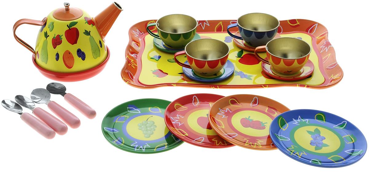 ABtoys Набор детской посуды Помогаю мамеPT-00256Набор детской посуды Помогаю маме прекрасно подойдет ребенку для веселых игр. Набор включает в себя посуду на четыре персоны. Предметы набора выполнены из высококачественного металла и пластика. В состав набора входят: поднос, чайник, 4 кружки, 4 тарелки, 4 блюдца, 4 ложечки. Благодаря этому замечательному набору посуды ваша девочка сможет собрать у себя гостей и устроить потрясающее чаепитие, которое понравится всем на нем присутствующим. Такой набор станет прекрасным дополнением к игровой ситуации с приглашением гостей к столу!