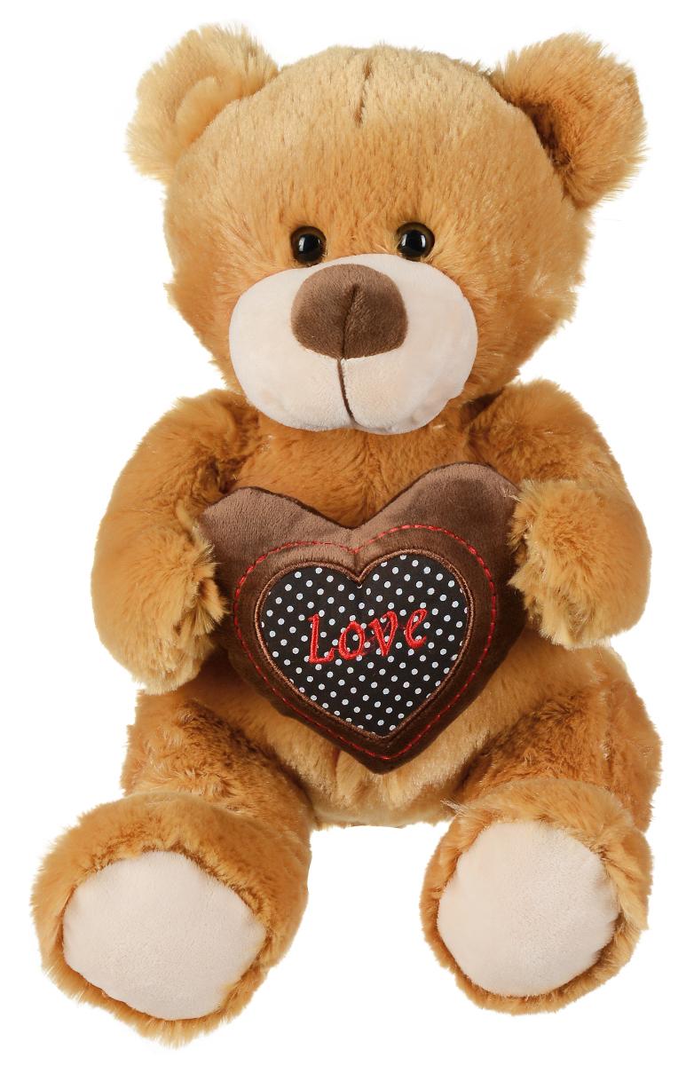 Plush Apple Мягкая игрушка Медведь с сердцем, 26 см2090739Мягкая игрушка Plush Apple Медведь с сердцем выполнена в виде трогательного медвежонка. Игрушка изготовлена из высококачественных и приятных на ощупь материалов. Глазки выполнены из пластика. В лапках медвежонок держит коричневое сердце, которое украшено надписью Love. Удивительно мягкая игрушка принесет радость и подарит своему обладателю мгновения нежных объятий и приятных воспоминаний.