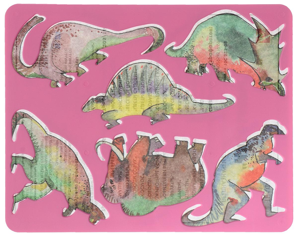 Луч Трафарет прорезной Динозавры, цвет: розовый10С 525-08_розовыйТрафарет Луч Динозавры, выполненный из безопасного пластика, предназначен для детского творчества. По трафарету маленький художник сможет нарисовать 6 различных доисторических животных. Для этого необходимо положить трафарет на лист бумаги, обвести фигуру по контуру и раскрасить по своему вкусу или глядя на цветную картинку-образец. Трафареты предназначены для развития у детей мелкой моторики и зрительно-двигательной координации, навыков художественной композиции и зрительного восприятия.