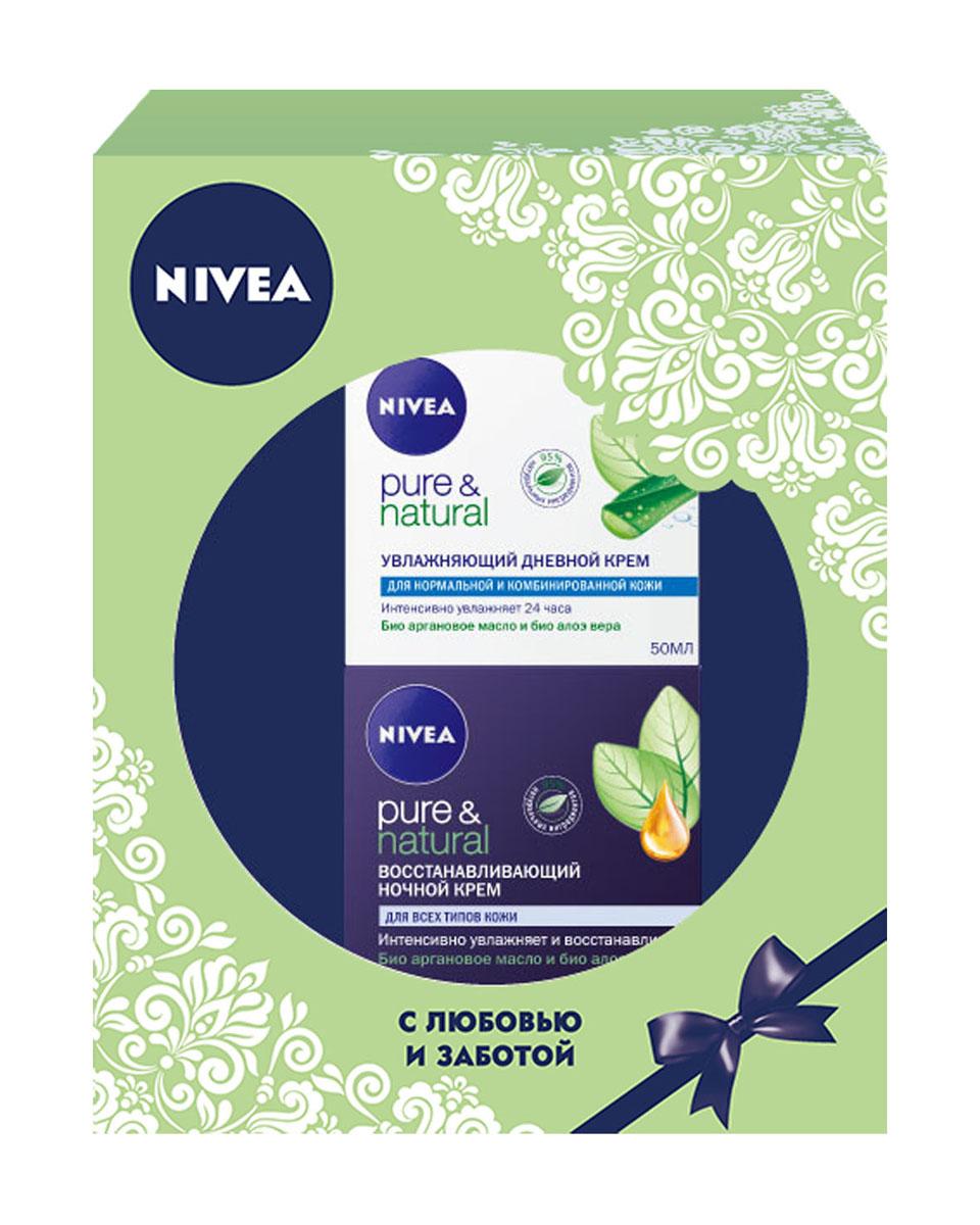 Nivea Подарочный набор для женщин Увлажнение и восстановление: Увлажняющий дневной крем Pure  50мл, Восстанавливающий ночной крем Pure  50мл.