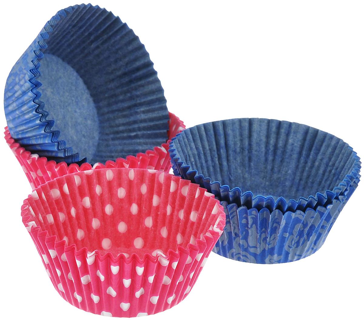 Набор форм для выпечки кексов Marmiton Классика, цвет: синий, розовый, белый, 50 шт11346_розовый, синийФормы для выпечки кексов Marmiton Классика изготовлены из пищевого термостойкого пергамента и предназначены для выпечки и упаковки кондитерских изделий. В наборе - 50 штук. Формы не требуют предварительной смазки маслом, жиром. Для одноразового применения. Изделия декорированы узорами в классическом стиле. Пригодны для использования в микроволновых, газовых и электрических печах. Диаметр по нижнему краю: 50 мм. Диаметр по верхнему краю: 70 мм. Высота формы: 30 мм.