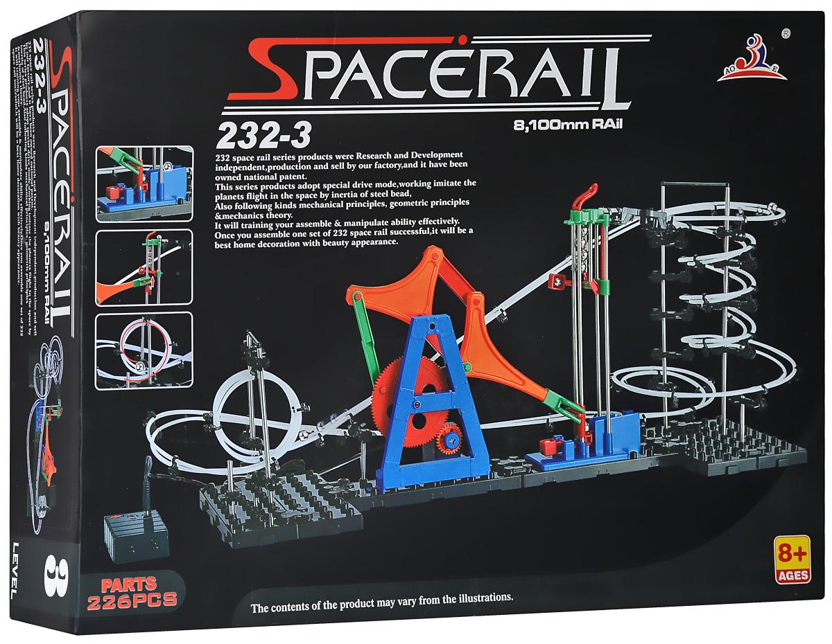 Space Rail Конструктор Уровень 3232-3Конструктор Space Rail - космическая трасса, представляет собой отличную пространственную головоломку, которая увлечет всю семью от мала до велика! Процесс сборки доставит удовольствие и детям, и родителям, а запуск космической трассы приведет всех в восторг. Вы сможете построить захватывающие дороги и сами задать траектории, по которым стремительно будут проноситься металлические шарики. Это интереснейший аттракцион, напоминающий американские горки, за которым можно наблюдать часами. Сборка конструктора поможет ребенку развить пространственное мышление и фантазию. Собранная модель станет изюминкой вашего дома и привлечет внимание окружающих. Вы и ваш ребенок сможете гордиться тем, что самостоятельно собрали такой аттракцион. Длина трассы: 81 см. Для работы игрушки необходимы 3 батарейки типа АА (не входят в комплект).