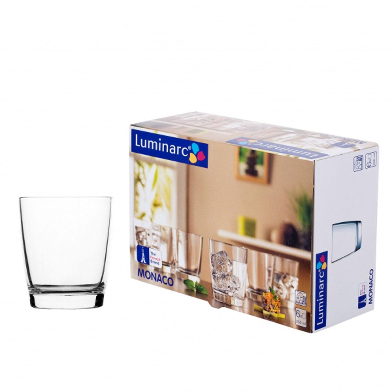 Набор стаканов Luminarc Монако, 250 мл, 6 штH5124Набор Luminarc Монако состоит из 6 низких стаканов, выполненных из высококачественного стекла. Изделия подходят для сока, воды, лимонада и других напитков. Такой набор станет прекрасным дополнением сервировки стола, подойдет для ежедневного использования и для торжественных случаев. Можно мыть в посудомоечной машине. Объем стакана: 250 мл. Высота стакана: 8,7 см. Диаметр стакана: 7,5 см.