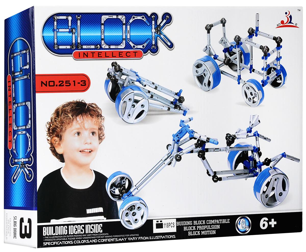 Intellect Block Конструктор Четырехколесный байк251-3Конструктор Intellect Block Четырехколесный байк позволит вашему ребенку весело и с пользой провести время. Набор включает в себя 118 пластиковых элементов, с помощью которых можно собрать модель четырехколесного байка, трактора, пушки или выбрать другую из предложенных. Также в набор входит схематичная инструкция по сборке, которая поможет собрать ту или иную конструкцию правильно и быстро. Конструктор Intellect Block Четырехколесный байк способствует развитию мелкой моторики рук, координации движений и усидчивости.