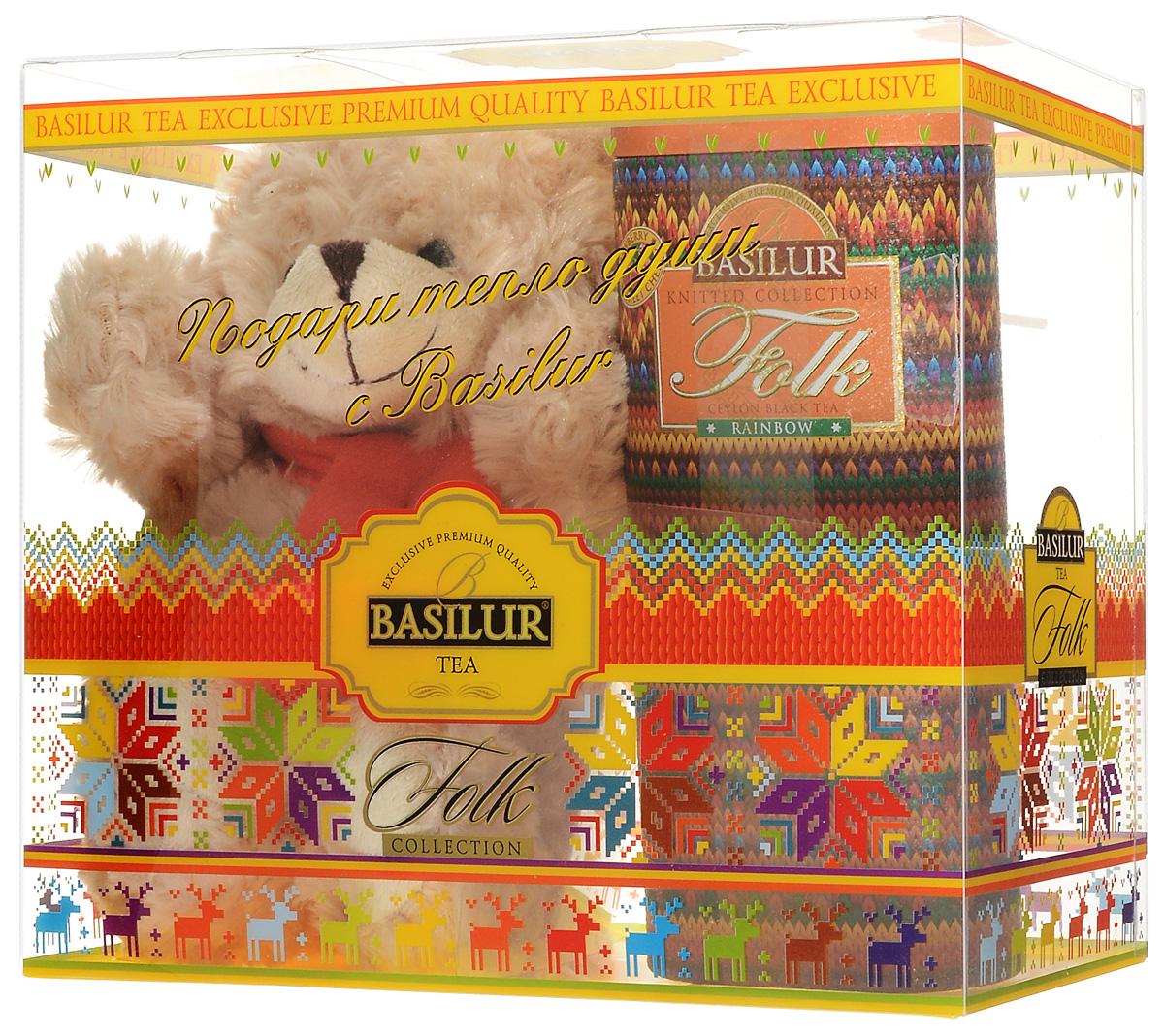 Basilur Folk Rainbow черный листовой чай с игрушкой, 100 г50198-00Подарочный набор Радость включает в себя черный листовой чай Basilur Folk Rainbow и мягкую игрушку - плюшевого мишку, который порадует и взрослых и детей. Для детей всегда желанна новая игрушка, особенно такой милый медвежонок. Что касается взрослых, то каждый из нас когда-то был ребенком и имел любимую игрушку, которой можно было рассказать заветные секреты. Размер игрушки: 240 x 200 x 100 мм. Basilur Folk Rainbow - черный цейлонский байховый листовой чай с вишней, лепестками сафлора, василька и календулы, а также ароматами клубники и вишни.