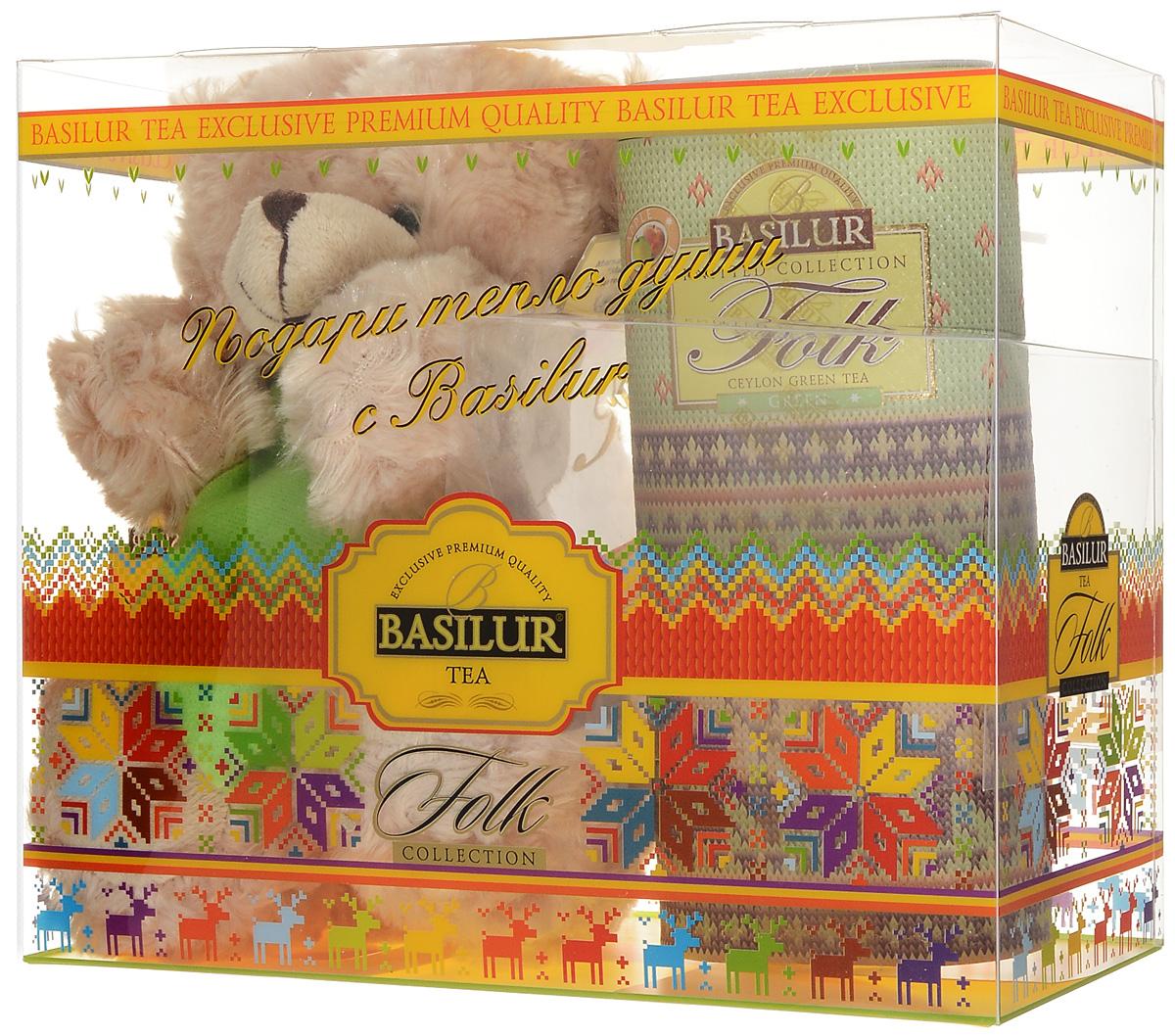 Basilur Folk Green зеленый листовой чай с игрушкой, 100 г50200-00Подарочный набор Радость включает в себя зеленый листовой чай Basilur Folk Green и мягкую игрушку - плюшевого мишку, который порадует и взрослых и детей. Для детей всегда желанна новая игрушка, особенно такой милый медвежонок. Что касается взрослых, то каждый из нас когда-то был ребенком и имел любимую игрушку, которой можно было рассказать заветные секреты. Размер игрушки: 240 x 200 x 100 мм. Basilur Folk Green - зелёный цейлонский байховый листовой чай с яблоком, лепестками цветов и ароматами яблока и персика в красивой подарочной упаковке.
