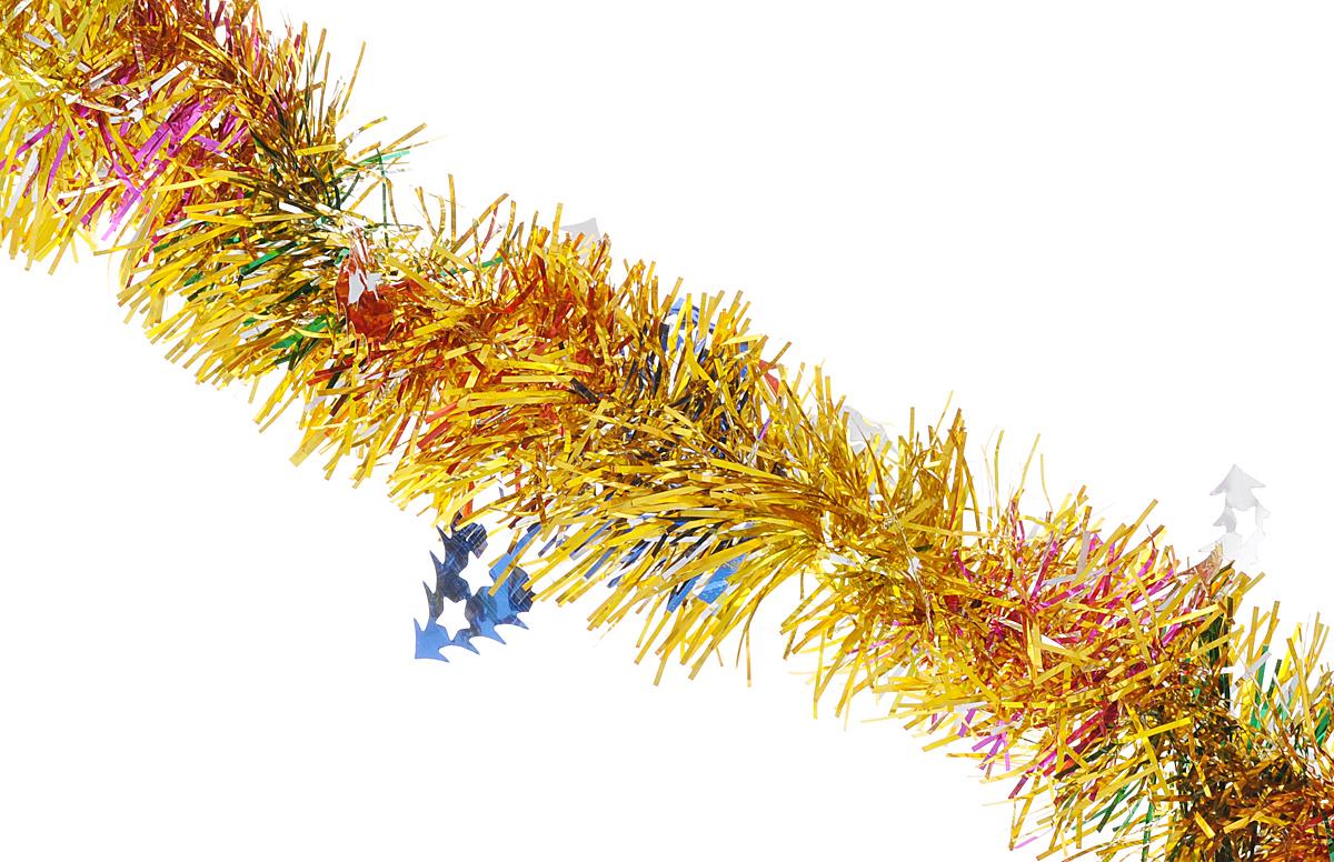 Мишура новогодняя Феникс-презент Magic Time, цвет: золотистый, синий, диаметр 6 см, длина 200 см. 3818038180Мишура новогодняя Феникс-презент Magic Time, выполненная из ПЭТ (полиэтилентерефталата), поможет вам украсить свой дом к предстоящим праздникам. Мишура армирована, то есть имеет проволоку внутри и способна сохранять приданную ей форму. Новогодняя елка с таким украшением станет еще наряднее. Новогодней мишурой можно украсить все, что угодно - елку, квартиру, дачу, офис - как внутри, так и снаружи. Можно сложить новогодние поздравления, буквы и цифры, мишурой можно украсить и дополнить гирлянды, можно выделить дверные колонны, оплести дверные проемы.