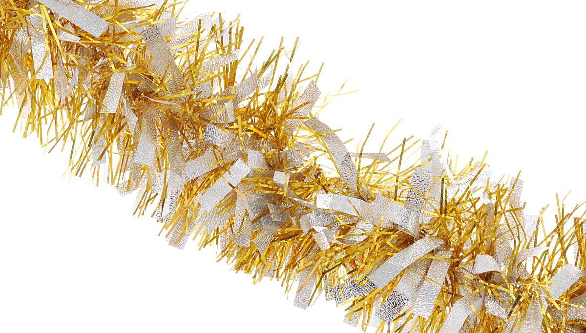 Мишура новогодняя Феникс-презент Magic Time, цвет: золотистый, серебристый, диаметр 9 см, длина 200 см34886Мишура новогодняя Феникс-презент Magic Time, выполненная из ПЭТ (полиэтилентерефталата), поможет вам украсить свой дом к предстоящим праздникам. Мишура армирована, то есть имеет проволоку внутри и способна сохранять приданную ей форму. Новогодняя елка с таким украшением станет еще наряднее. Новогодней мишурой можно украсить все, что угодно - елку, квартиру, дачу, офис - как внутри, так и снаружи. Можно сложить новогодние поздравления, буквы и цифры, мишурой можно украсить и дополнить гирлянды, можно выделить дверные колонны, оплести дверные проемы.