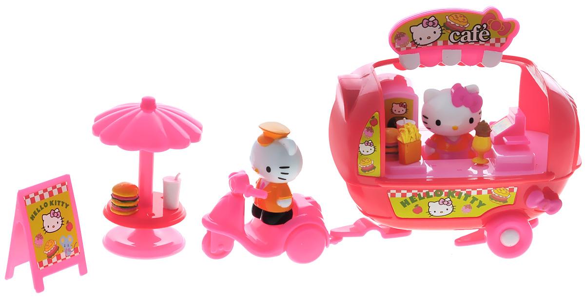Hello Kitty Игровой набор Фургон-кафе65025Игровой набор Hello Kitty Фургон-кафе не оставит равнодушной ни одну девочку. Набор полностью выполнен из безопасного пластика ярких цветов и включает в себя две фигурки Hello Kitty, фургон, мотороллер, столик, вывеску. Фургон оборудован кассой и различной кухонной утварью. Благодаря маленьким размерам элементов набора ваша малышка сможет брать его с собой на прогулку или в гости. Порадуйте ее таким замечательным подарком!