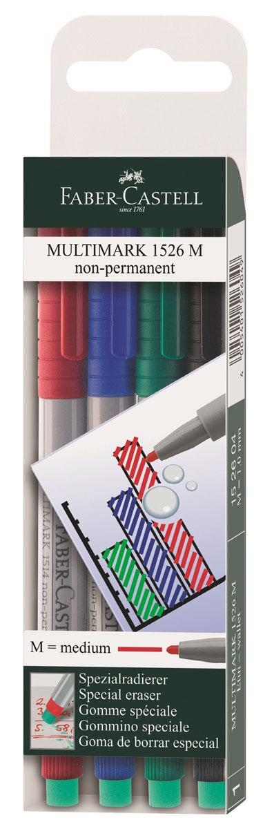 Faber-Castell Капиллярная ручка Multimark M для письма на пленке 4 цвета152604Капиллярная ручка Multimark предназначена для письма на CD, DVD дисках, пленках для проекторов и других гладких поверхностях. Ручка с обратной стороны содержит специальный ластик для стирания чернил. Чернила быстросохнущие, с яркими цветами, корпус изготовлен из прочного пластика. В наборе 4 цвета: черный, красный, синий, зеленый.