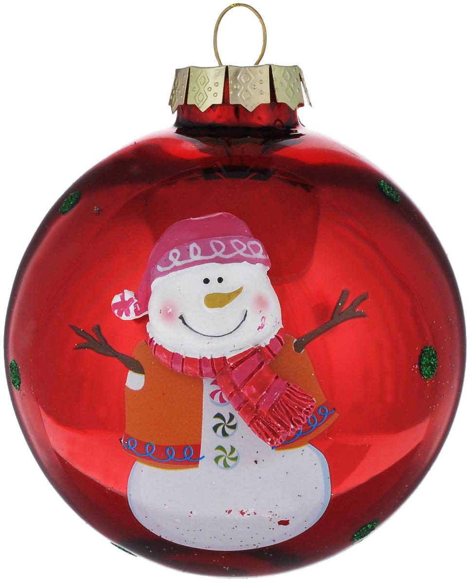 Новогоднее подвесное украшение Its a Happy Day Снеговичок, диаметр 8 см66495Подвесное украшение Its a Happy Day Снеговичок, выполненное из стекла, прекрасно подойдет для праздничного декора вашей ели. Оригинальное новогоднее украшение в виде шара оформлено объемным изображением снеговика и блестками. С помощью специальной текстильной петельки его можно повесить в любом понравившемся вам месте. Но, конечно, удачнее всего такая игрушка будет смотреться на праздничной елке. Елочная игрушка - символ Нового года и Рождества. Она несет в себе волшебство и красоту праздника. Создайте в своем доме атмосферу веселья и радости, украшая новогоднюю елку нарядными игрушками, которые будут из года в год накапливать теплоту воспоминаний.