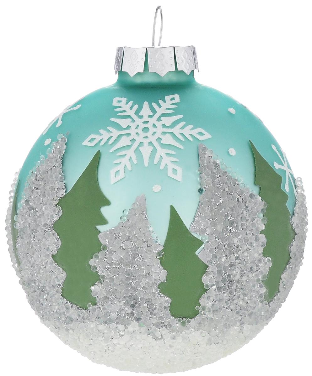 Новогоднее подвесное украшение Its a Happy Day Зимний лес, диаметр 8 см66514Подвесное украшение Its a Happy Day Зимний лес, выполненное из стекла, прекрасно подойдет для праздничного декора вашей ели. Оригинальное новогоднее украшение в виде шара оформлено блестками и стразами. С помощью специальной текстильной петельки его можно повесить в любом понравившемся вам месте. Но, конечно, удачнее всего такая игрушка будет смотреться на праздничной елке. Елочная игрушка - символ Нового года и Рождества. Она несет в себе волшебство и красоту праздника. Создайте в своем доме атмосферу веселья и радости, украшая новогоднюю елку нарядными игрушками, которые будут из года в год накапливать теплоту воспоминаний.