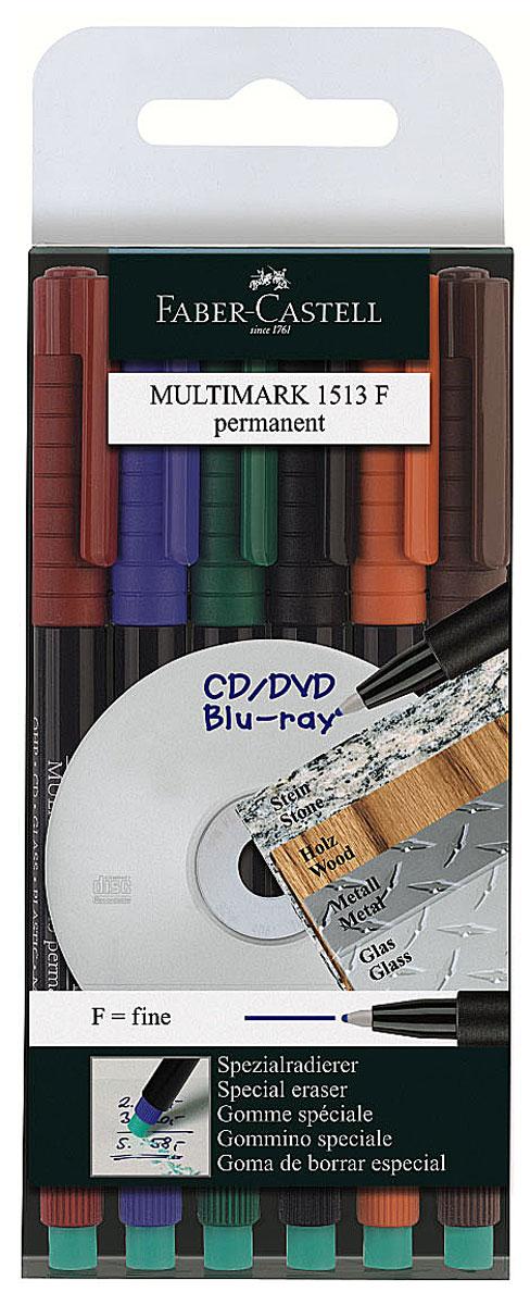 Faber-Castell Капиллярная перманентная ручка Multimark F для письма на CD 6 цветов151306Капиллярная перманентная ручка Multimark предназначена для письма на CD, DVD дисках, пленках для проекторов и других гладких поверхностях. Ручка с обратной стороны содержит специальный ластик для стирания чернил. Чернила быстросохнущие, с яркими цветами, корпус изготовлен из прочного пластика. В наборе 6 цветов: черный, красный, синий, зеленый, коричневый, оранжевый.