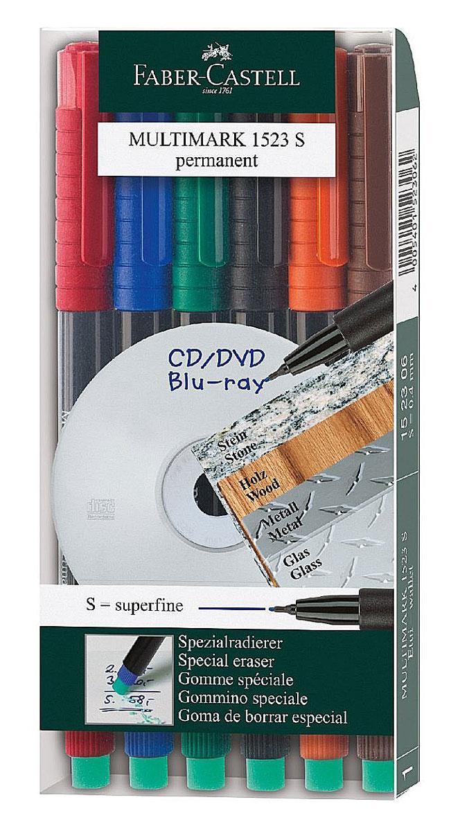 Faber-Castell Капиллярная перманентная ручка Multimark S для письма на CD 6 цветов152306Капиллярная перманентная ручка Multimark предназначена для письма на CD, DVD дисках, пленках для проекторов и других гладких поверхностях. Ручка с обратной стороны содержит специальный ластик для стирания чернил. Чернила быстросохнущие, с яркими цветами, корпус изготовлен из прочного пластика. В наборе 6 цветов: черный, красный, синий, зеленый, коричневый, оранжевый.