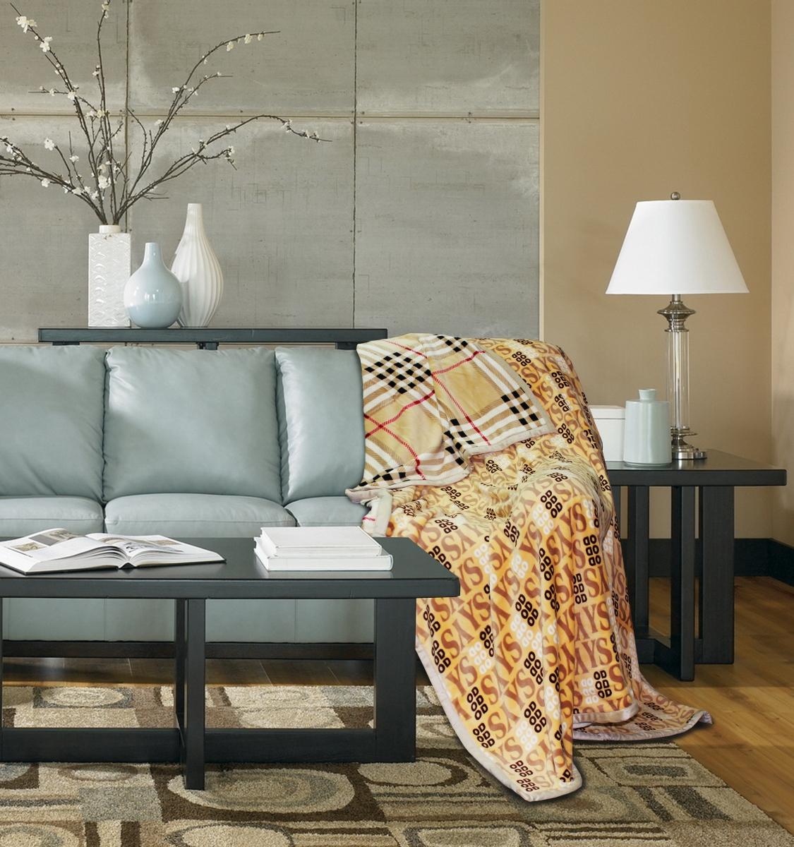 "Плед Amore Mio ""Фланель. Burberry. Status"", цвет: бежевый, коричневый, черный, 180 х 220 см"