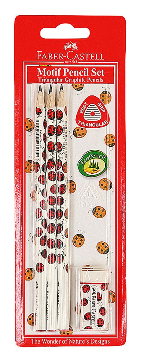 Faber-Castell Чернографитовый карандаш Triangular цвет корпуса белый красный 3 шт + ластик118365Чернографитовый карандаш Faber-Castell Triangular станет не только идеальным инструментом для письма, рисования или черчения, но и дополнит ваш имидж. Трехгранный корпус выполнен из натуральной древесины и оформлен рисунком с божьими коровками. Высококачественный прочный грифель не крошится и не ломается при заточке. Качественная мягкая древесина обеспечивает хорошее затачивание. Степень твердости - B. Ластик Faber-Castell идеально подходят для применения как в школе, так и в офисе. Обеспечивают высокое качество коррекции. В комплект входят 3 чернографитовых карандаша и ластик.
