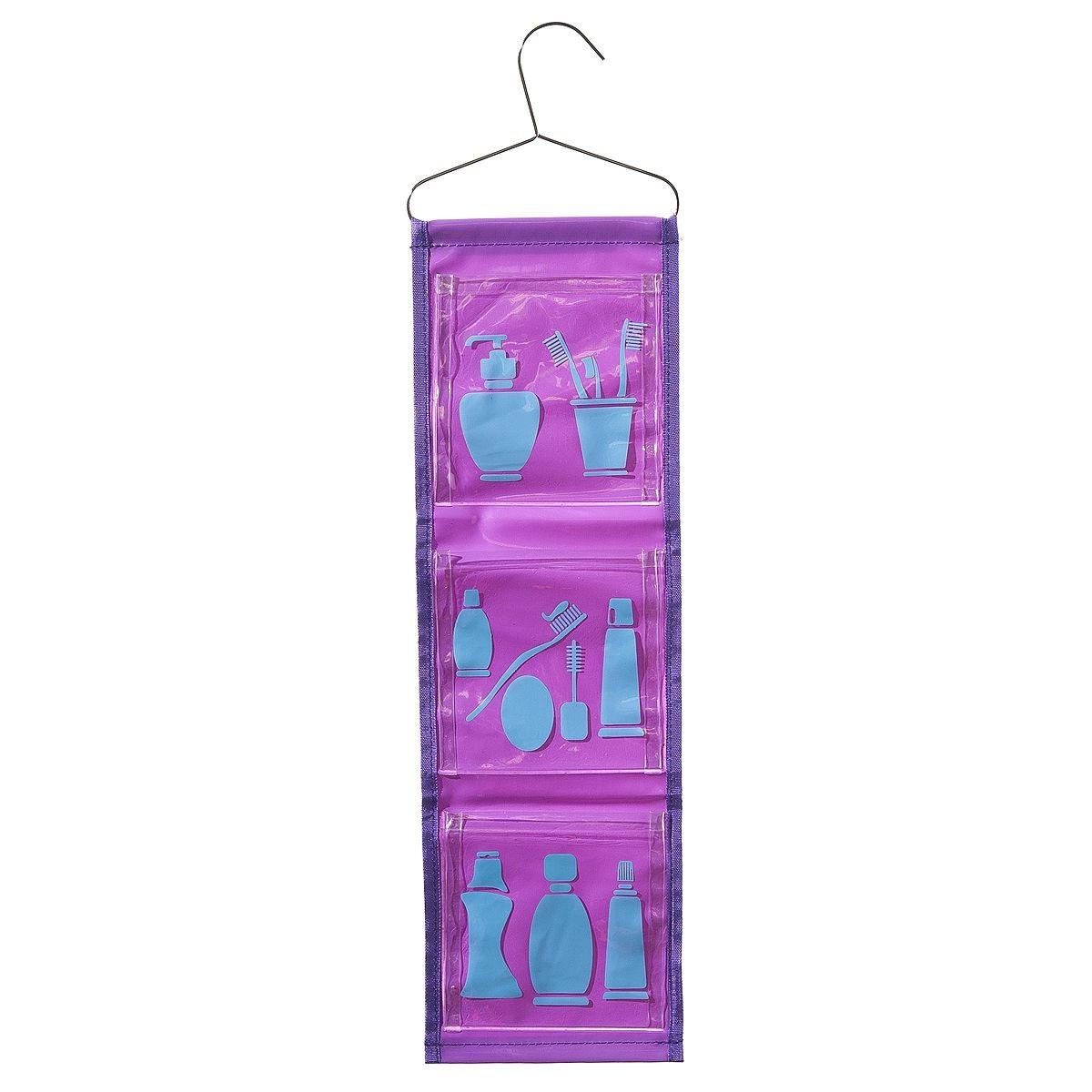 Органайзер для ванной Fresh Code, цвет: фиолетовый, 3 отделения, 65 см х 16 см64921_фиолетовыйУдобный и яркий органайзер Fresh Code - это отличное решение для хранения мелочей в ванной комнате. Органайзер оснащен тремя карманами, в которые можно положить необходимые принадлежности для ванной комнаты. Органайзер имеет металлическую вешалку, за которую его можно повесить в любое удобное место. Органайзер Fresh Code станет ярким украшением вашей ванной комнаты.