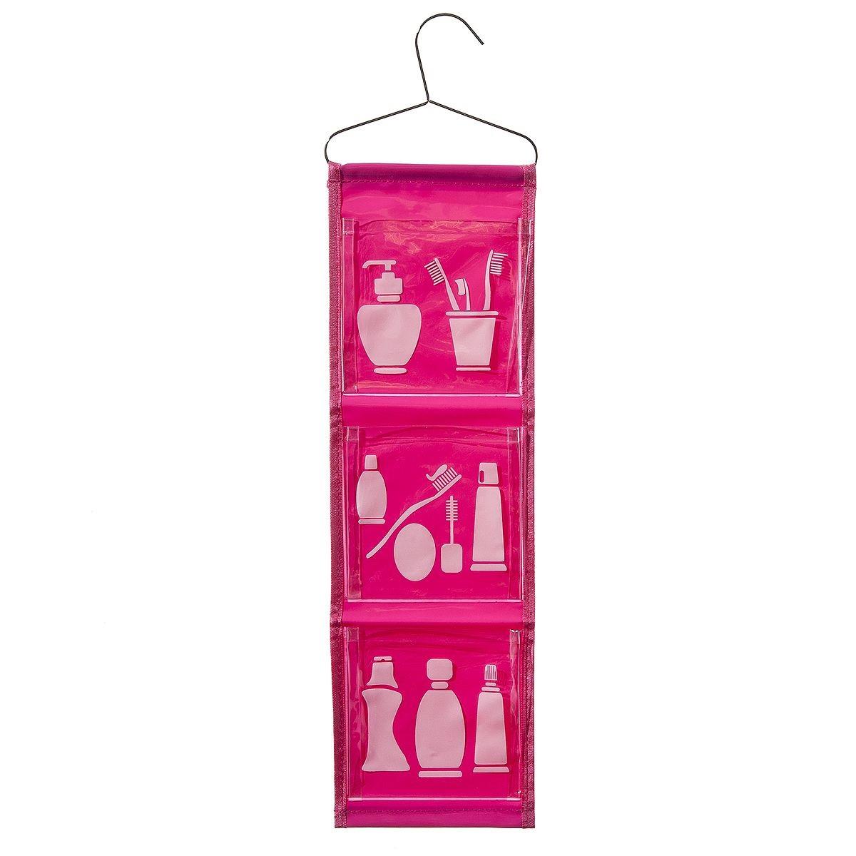 Органайзер для ванной Fresh Code, цвет: розовый, 3 отделения, 65 х 16 см64921_розовыйУдобный и яркий органайзер Fresh Code - это отличное решение для хранения мелочей в ванной комнате. Органайзер оснащен тремя карманами, в которые можно положить необходимые принадлежности для ванной комнаты. Органайзер имеет металлическую вешалку, за которую его можно повесить в любое удобное место. Органайзер Fresh Code станет ярким украшением вашей ванной комнаты.