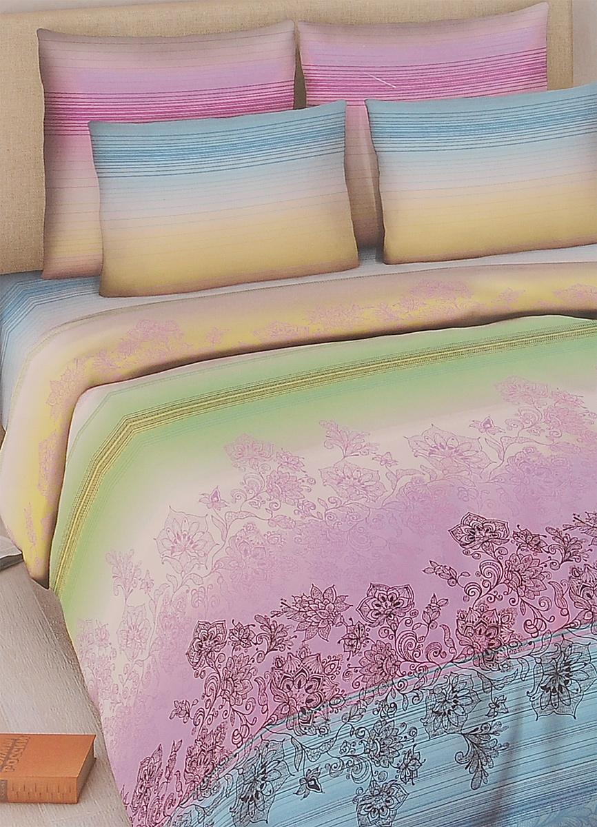 Комплект белья Василиса Роскошь, 2-спальный, наволочки 70х70, цвет: сиреневый, голубой, светло-зеленый