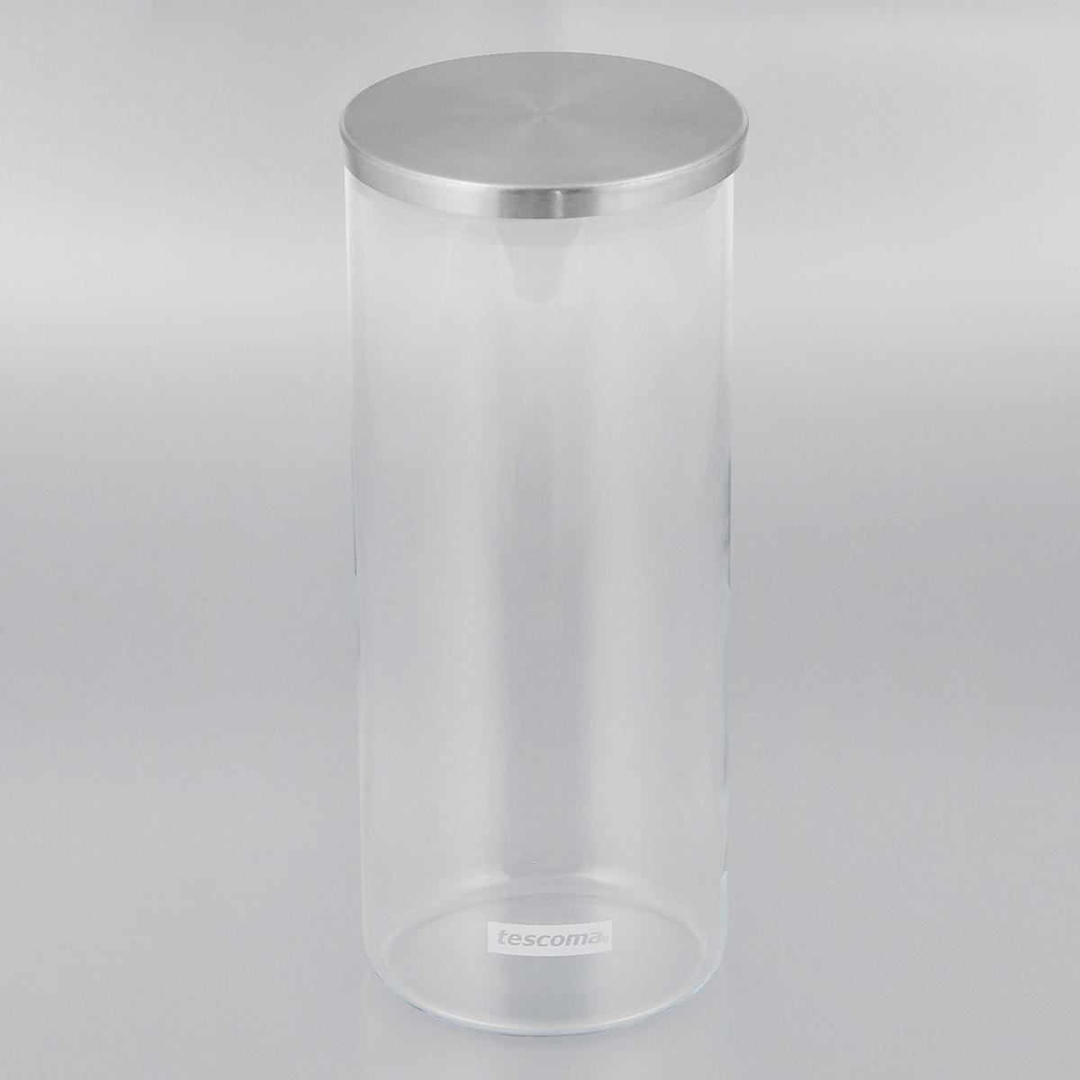 Емкость для специй Tescoma Monti, цвет: прозрачный, металлик, 1,4 л894824Емкость для специй Tescoma Monti, изготовленная из прочного боросиликатного стекла, позволит вам хранить разнообразные специи. Емкость оснащена плотно прилегающей крышкой, изготовленной из первоклассной нержавеющей стали и прочной пластмассы и снабженная силиконовой прокладкой. Емкость для хранения специй станет незаменимым помощником на кухне. Можно мыть в посудомоечной машине, крышку - нельзя. Диаметр по верхнему краю: 9,5 см. Диаметр дна: 9 см. Высота без учета крышки: 23 см. Высота с учетом крышки: 23,5 см. Объем: 1,4 л.