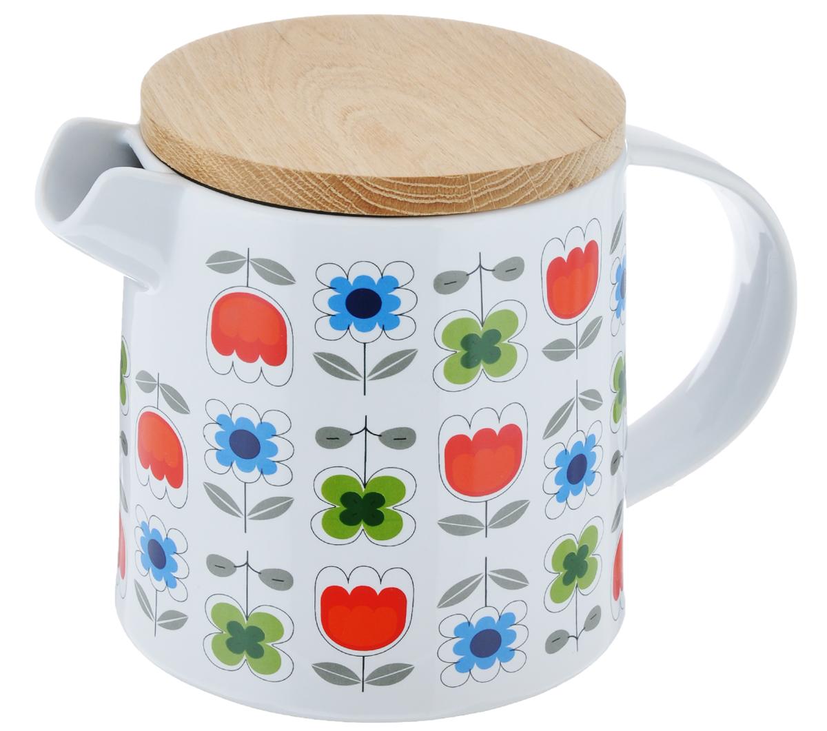 Чайник заварочный Sagaform Retro, 1,3 л5016018Чайник Sagaform Retro изготовлен из высококачественной керамики и предназначен для заваривания чая. Крышка чайника изготовлена из высокопрочной древесины и оснащена силиконовым ободом. Изделие декорировано ярким красочным рисунком. Чайник станет отличным дополнением к вашему кухонному инвентарю, а также украсит сервировку стола и подчеркнет прекрасный вкус хозяина. Диаметр чайника (по верхнему краю): 10 см. Диаметр основания чайника: 13,5 см. Высота чайника (без учета крышки): 13,5 см.