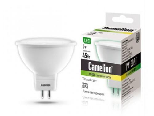 Лампа светодиодная Camelion, теплый свет, цоколь GU5.3, 5W5-S108/830/GU5.3Энергосберегающая лампа Camelion - это инновационное решение, разработанное на основе новейших светодиодных технологий (LED), для эффективной замены любых видов галогенных или обыкновенных ламп накаливания во всех типах осветительных приборов. Служит в 30 раз дольше обычных ламп. Она хорошо подойдет для создания рабочей атмосферы в производственных и общественных зданиях, спортивных и торговых залах, в офисах и учреждениях. Лампа не содержит ртути и других вредных веществ, экологически безопасна и не требует утилизации, не выделяет при работе ультрафиолетовое и инфракрасное излучение. Обладает высокой вибро- и ударопрочностью в связи с отсутствием нити накаливания и стеклянных трубок. Обеспечивает мгновенное включение без мерцания. Напряжение: 220-240В / 50 Гц. Индекс цветопередачи (Ra): 77+. Угол светового пучка: 100°. Использовать при температуре: от -30° до +40°.
