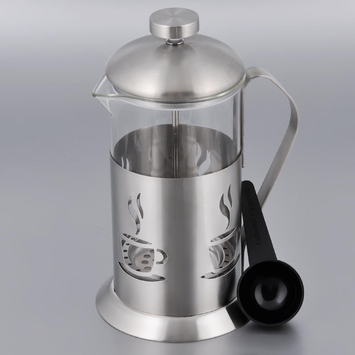 Заварник френч-пресс BergHOFF Cook&Co, цвет: прозрачный, металлик, 0,6 л2800126Поршневой заварник BergHOFF Cook&Co выполнен из нержавеющей стали и стекла. Отлично подходит для заваривания любых сортов кофе, без проблем справится с любым помолом кофе. Помимо кофе, во френч-прессе можно заварить чай. Наружная крышка из нержавеющей стали. К заварнику прилагается небольшая пластиковая ложка. Подходит для использования в посудомоечной машине. Объем: 600 мл. Диаметр (по верхнему краю): 9 см. Высота: 17 см.