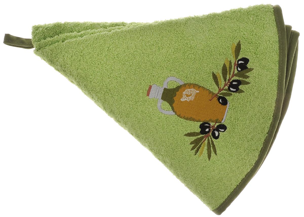 Полотенце кухонное Mariposa Комфорт. Олива, цвет: зеленый, оливковый, диаметр 70 см. 6231262312Круглое кухонное полотенце Mariposa Комфорт. Олива изготовлено из 100% хлопка, поэтому является экологически чистыми. Качество материала гарантирует безопасность не только взрослых, но и самых маленьких членов семьи. Изделие очень мягкое и пушистое,с плотной невысокой махрой, оснащено удобной петелькой и украшено оригинальной вышивкой. Кухонные полотенца Mariposa сделают интерьер вашей кухни стильным и гармоничным. Диаметр полотенца: 70 см.