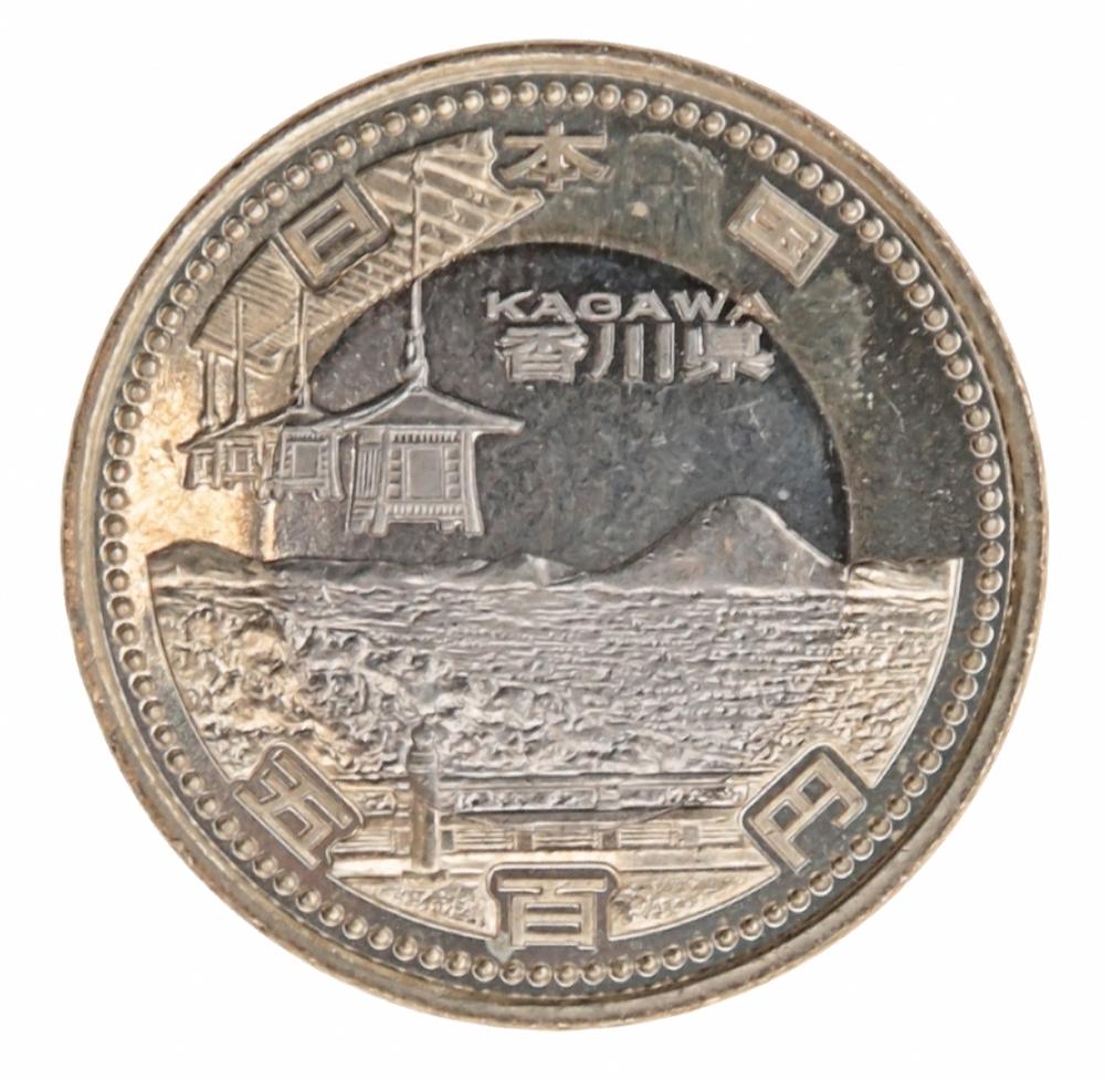 Монета номиналом 500 йен Префектура Кагава. Япония, 2014 год324006Состояние: UNC Диаметр: 26,5 мм. Вес: 7 гр. Материал: медно-никелевая монета в никелево-латунном кольце.